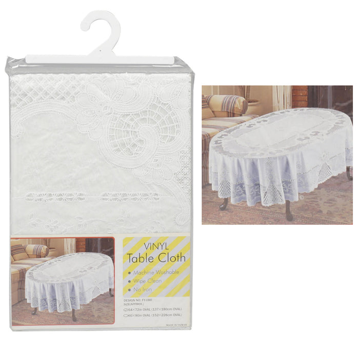 "Vinyl White Oval Tablecloth 54"" X 72"" Design Table Cover Party Easy Wipe Clean"