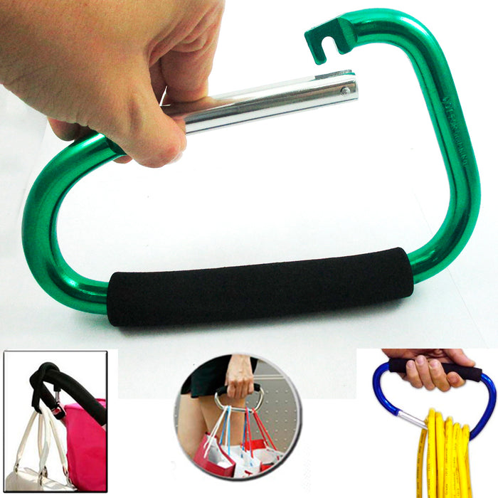 "Jumbo 8"" Carabiner Hook Max Force Extra Large Spring Snap Hook Cushion Grip New"