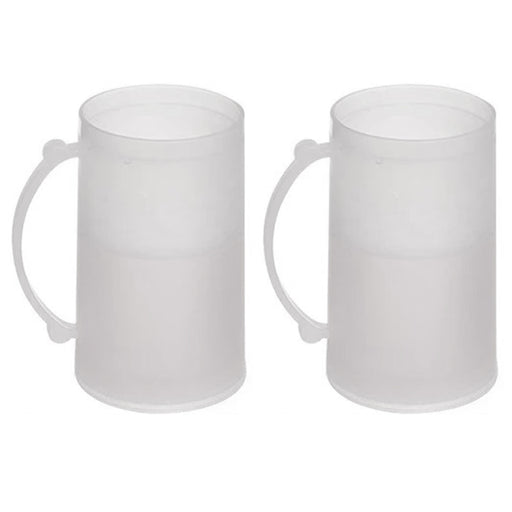 2 Double Wall Freezer Frosty Mugs 14oz Cold Beer Stein Chilled Frozen Drink Cup
