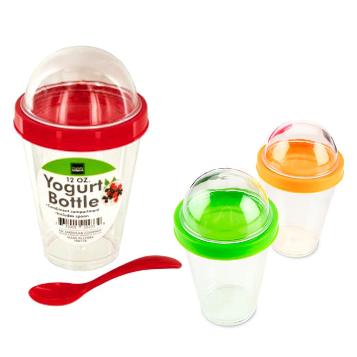 1 Yogurt Bottle Cup Storage Container Spoon Cereal Fruit Parfait Dome Lid 12 oz