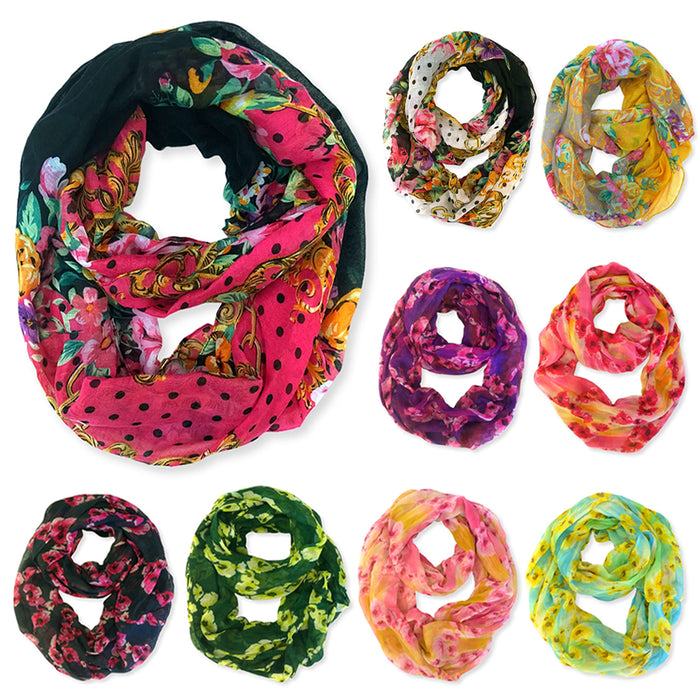 3 Pack Womens Winter Convertible Infinity Scarf Long Loop Soft Cowl Floral Print
