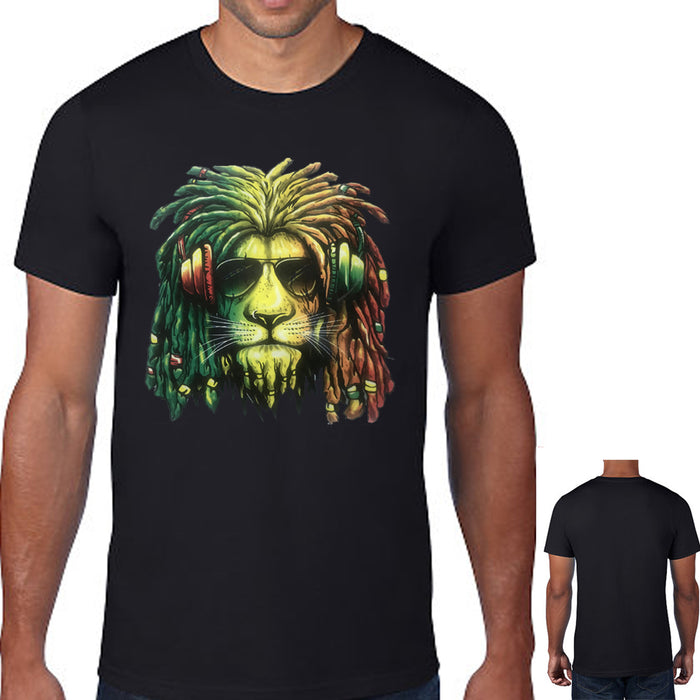 Rasta Lion Headphones T-shirt Jamaican Reagge Rastafari Animal Music Shirt Bk 2X