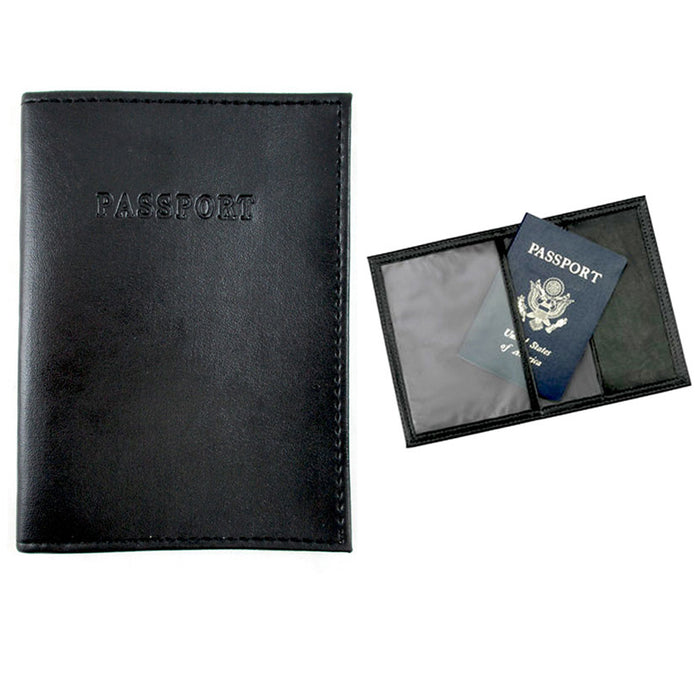 4 Passport Cover Holders Faux Leather ID Wallet Case Travel  Black New !
