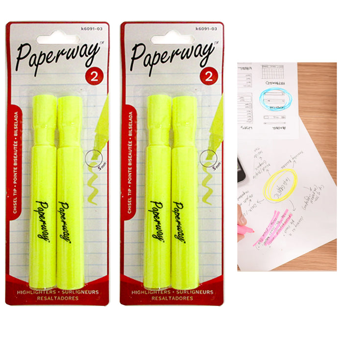 4 Pc Yellow Highlighter Pen Markers Chisel Tip Fluorescent Note Taking Office