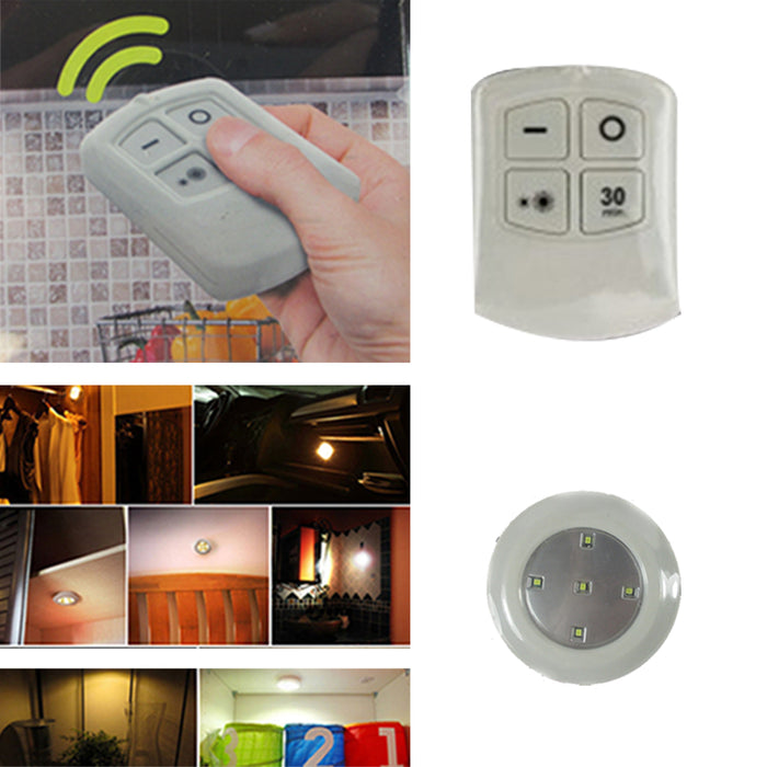 6Pcs Wireless LED Remote Control Battery Under Cabinet Night Light Wall Lamp