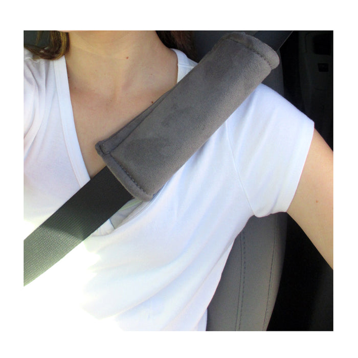 2Pc Grey Seat Belt Pads Car Safety Soft Shoulder Strap Cover Cushion Truck Auto