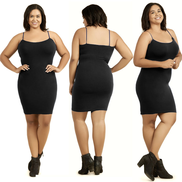 3 Pc Set Plus Ladies Long Poly Slip Dress Camisole Seamless Top Stretch One Size