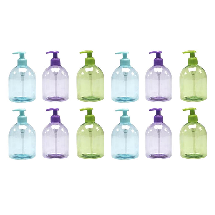 12 Pack Plastic Dispenser Refillable Bottle Hand Liquid Soap Pump Lotion 17.5 Oz