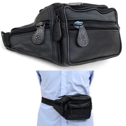 1 Black Leather Fanny Pack Bum Belt Waist Bag Adjustable Pouch Travel Hip Purse
