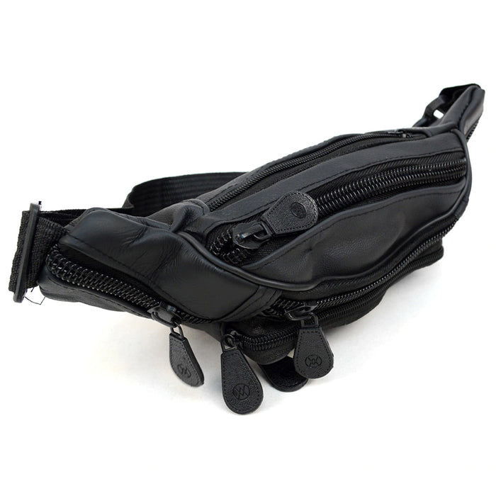 af6ee2886 ... Leather Fanny Pack Adjustable Waist Bag Mens Womens Hip Purse Travel  Pouch Black ...