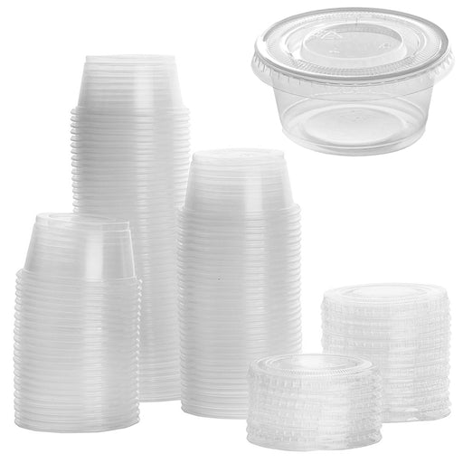 40PC Clear Sauce Containers w/ Lids Disposable Cups Dressing Condiments 2oz. Set
