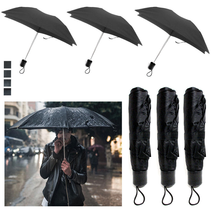 3 Pack Mini Folding Umbrella Travel Automatic Compact Rain Windproof Open Close