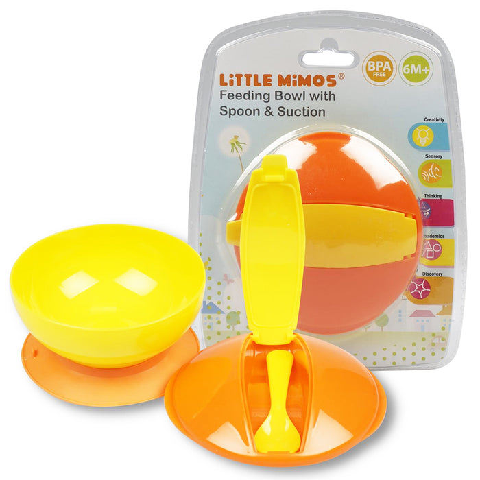 Baby Kids Feeding Suction Bowl + Spoon Anti Slip Infant Snack Dish Set BPA Free