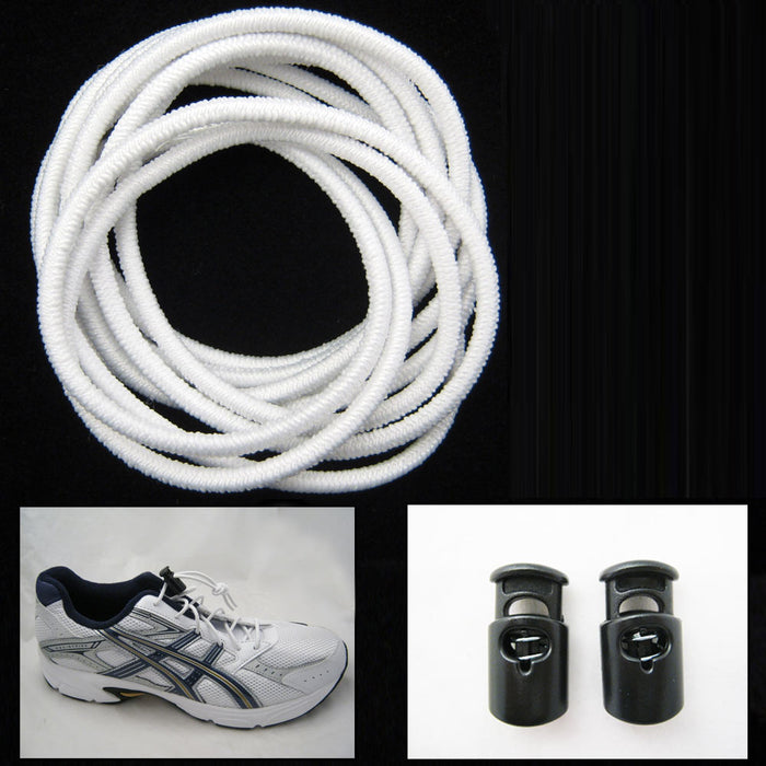 No Tie Shoelaces Elastic Lock Laces Running Belt Race Number Holder Set Sports