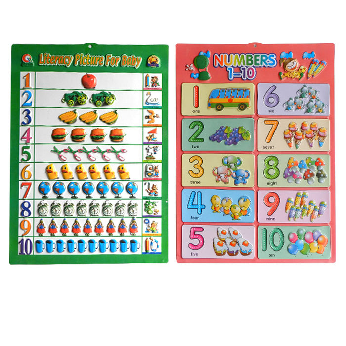 4 X Classroom Learning Poster Alphabet Number English Math Children School Pre-K