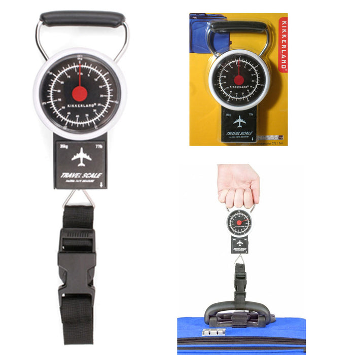 Portable Luggage Scale Stop Lock Tape Measure New 77 LB Hanging Travel Weight