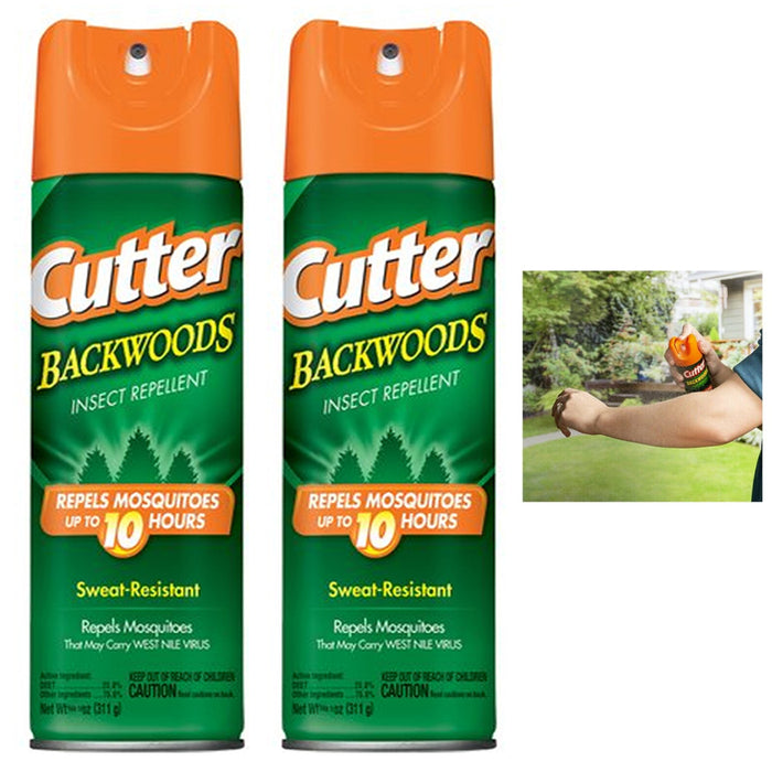 2PC Cutter Backwoods Insect Mosquito Repellent Aerosol Spray Sweat Resistant 6oz