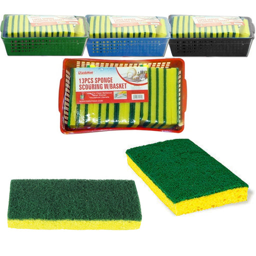 13 Pc Sponges Set Basket Scrubber Clean Kitchen Scouring Pads Dishes Bathroom
