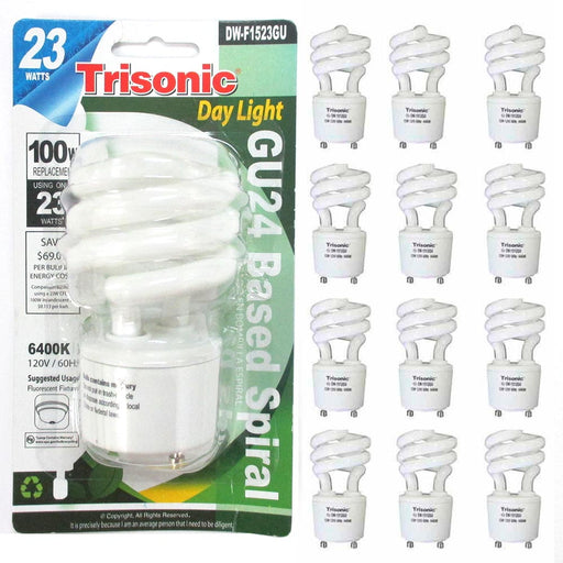 12 Pc Daylight Bulb Light 23 W Energy 100 Watt Output Spiral White Fluorescent