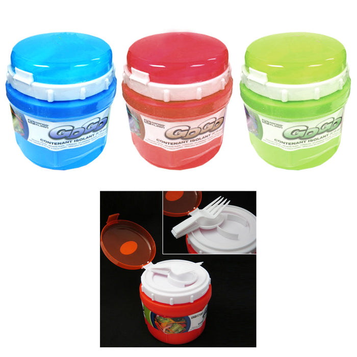 1 Travel Soup Mug Cup 10 oz Take Out Microwave Safe Container Storage Spoon Fork