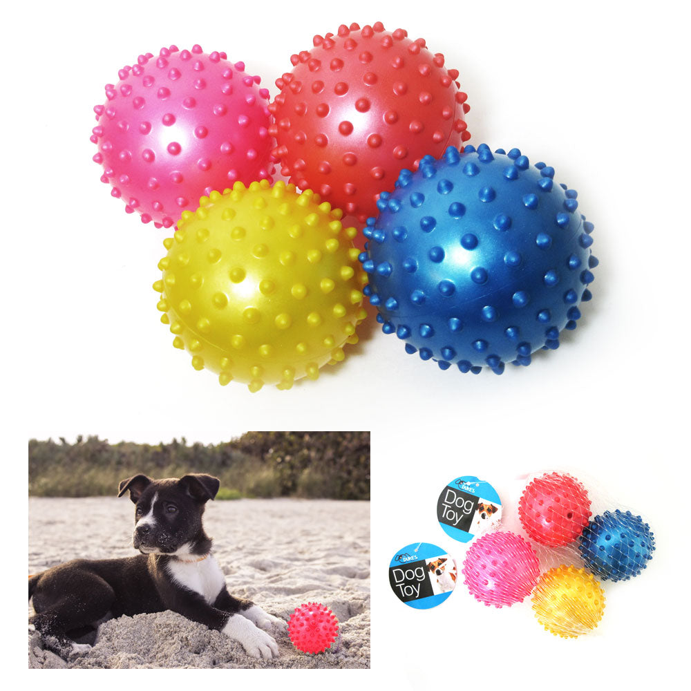 4 Pc Rubber Spike Dog Balls Fetching Pet Play Toys