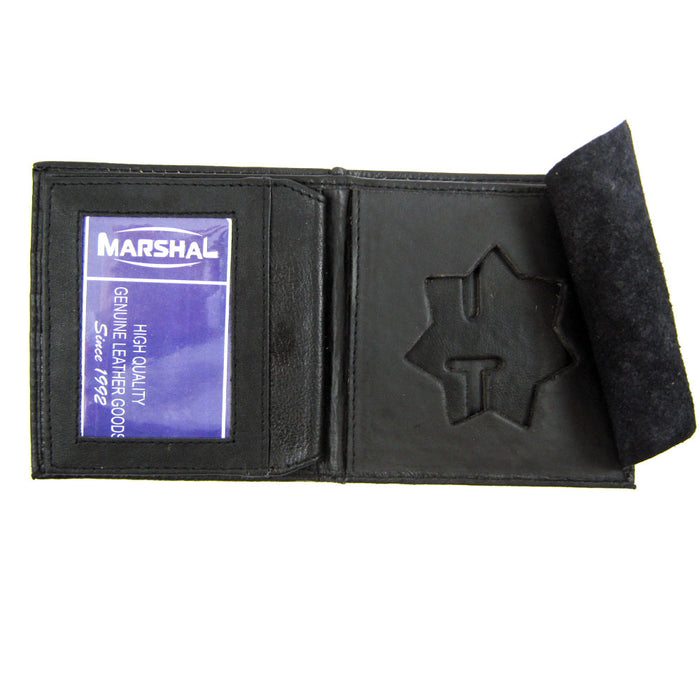 Leather Wallet Police Star Shield Id Badge Holder Sherrif Officer Police Black !