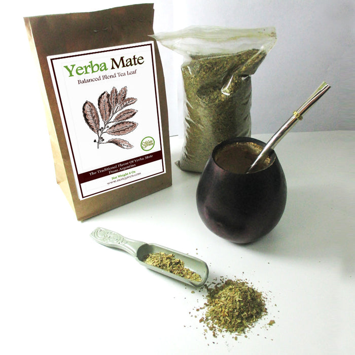 4 Pc Argentina Yerba Mate Tea Gourd Cup Straw Bombilla 6 Oz Leaf Bag Kit Combo