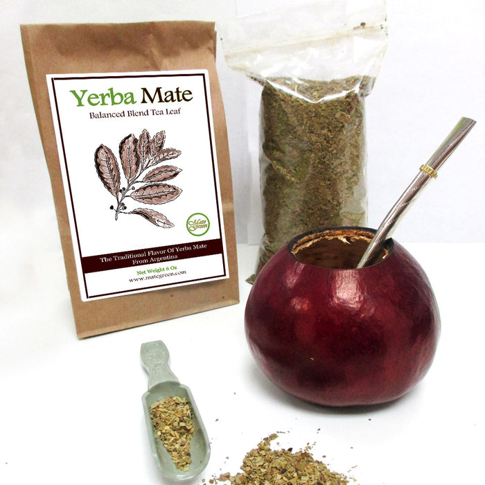 4 Pc Argentina Yerba Mate Tea Gourd 6 Oz Cup Bombilla Combo Leaf Bag Kit 059