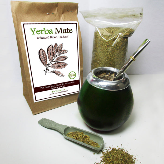 4Pc Argentina Yerba Mate Tea Gourd Cup Straw Bombilla 6oz Leaf Bag Kit Pack 4200