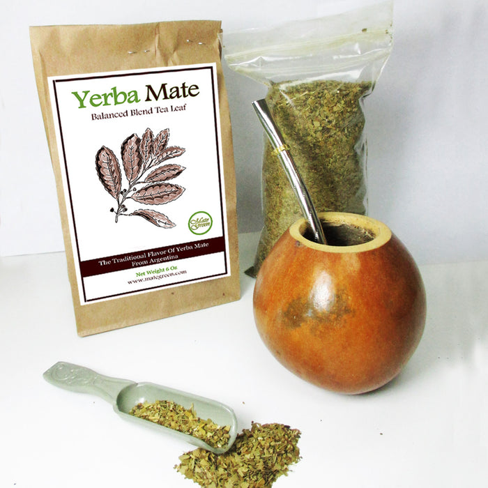 4 Pc Argentina Yerba Mate Tea Gourd Cup Straw Bombilla 6oz Leaf Bag Kit Gift Set