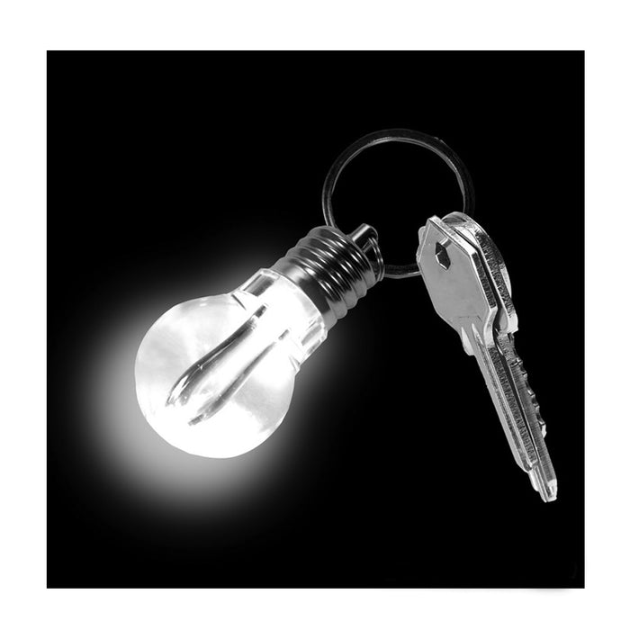 Kikkerland LIGHT BULB LED Keychain key ring choice of 3 shapes:spiral U or round