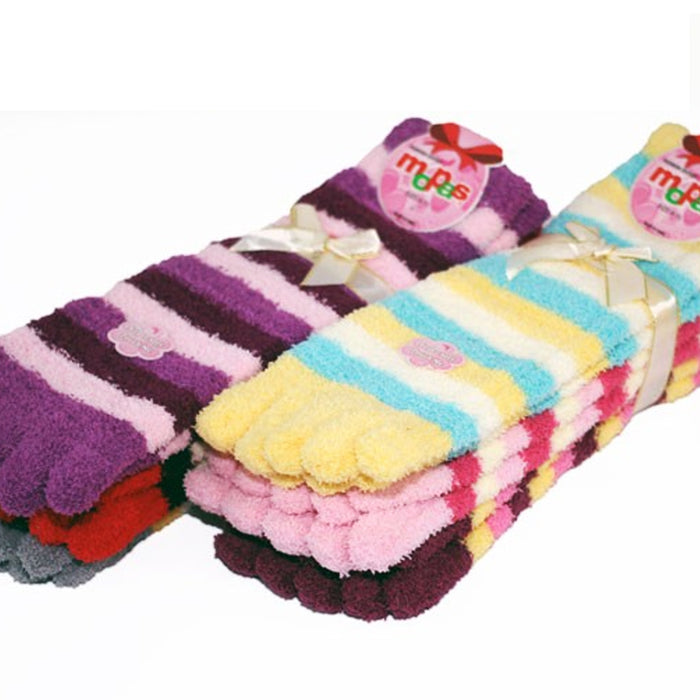 1 Pair Fuzzy Toe Socks Fur Soft Striped Plush Womens Flip Flop Winter Warm 9-11