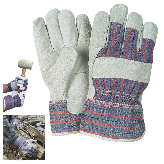 1 Pair Work Gloves Split Leather Reinforced Palm Large Men Utility Garden Home L