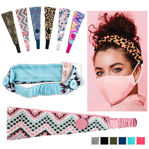 1 Pc MaskMates Button Headband Elastic Hair Band Ear Saver Cover Assorted Colors