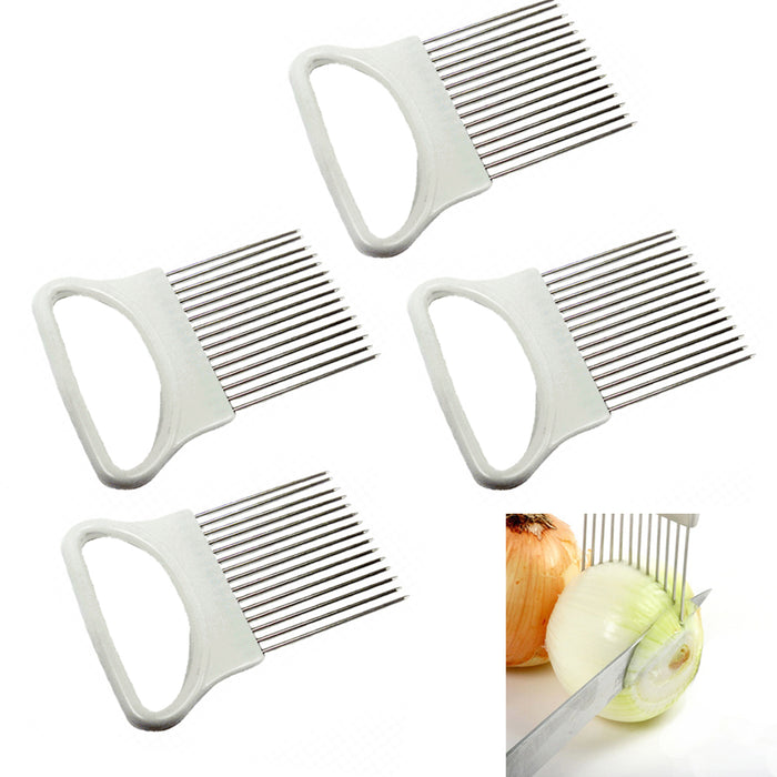 4 Pc Onion Holder Slicer Vegetable Tomato Cutter Stainless Steel Kitchen Gadget