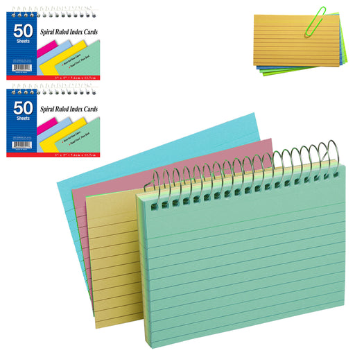 "2 Pack Spiral Bound Index Cards 3"" X 5"" Ruled 50Ct Assorted Colors School Office"