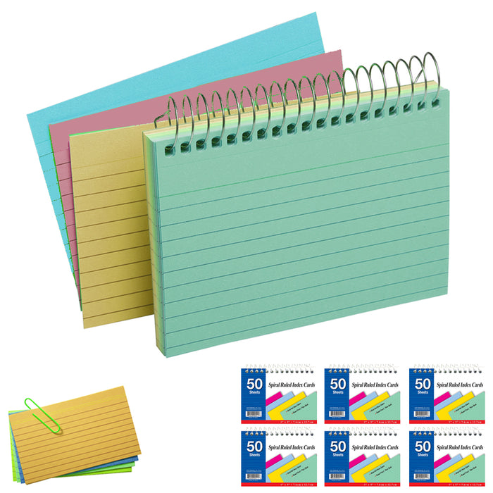 "6 Pack Spiral Bound Index Cards 3"" X 5"" Ruled 50Ct Assorted Colors School Office"