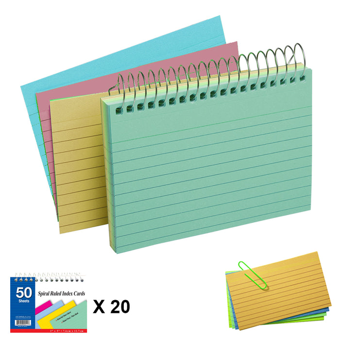"20 Pack Spiral Bound Index Cards 3"" X 5"" Ruled 50Ct Assorted Colors Wholesale US"