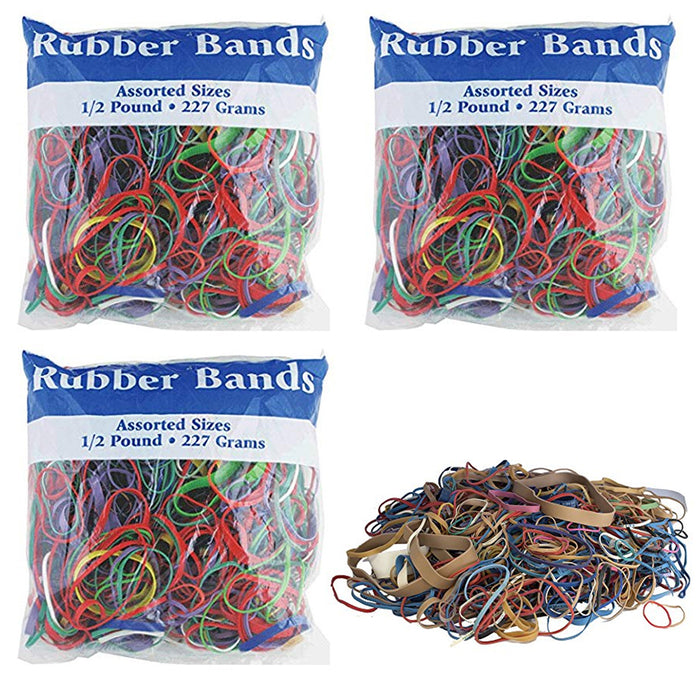 3 Pk Bazic Rubber Bands Assorted 1/2 Half Pound 227g Multi Color Sizes Crafts