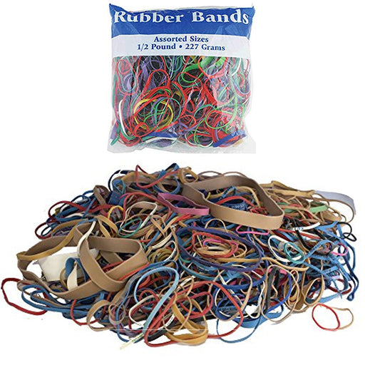1 Pack BAZIC Multicolor Rubber Bands Assorted Sizes Crafts Office School 227gms