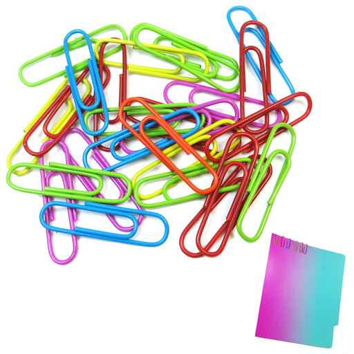 200 Paper Clips 33mm Vinyl Coated Assorted Colors Crafts Home School Office New