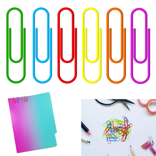 1000 Paper Clips 33mm Vinyl Coated Assorted Colors Crafts Home School Office Lot