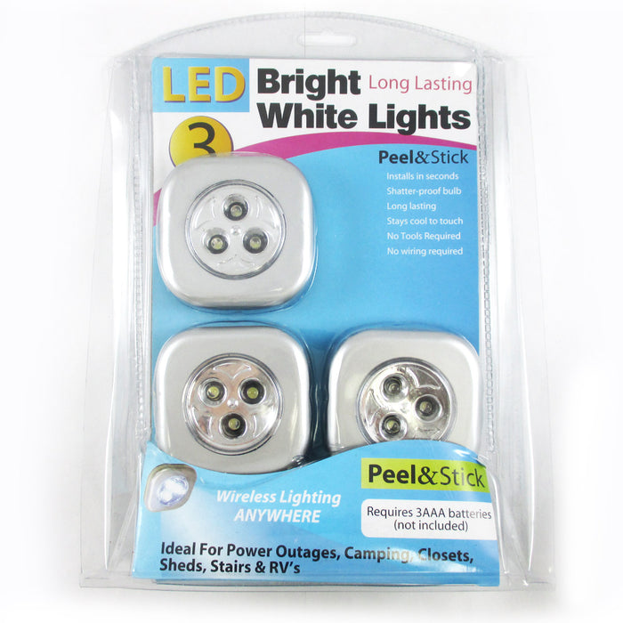 3 Pc LED Bright White Push Touch Lights Peel Stick Long Lasting Camping Closets