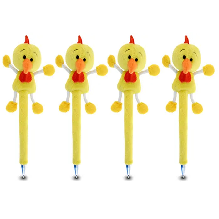 4 Pc Rooster Plush Pen Yellow Chicken Toy School Supplies Arts Crafts Gifts