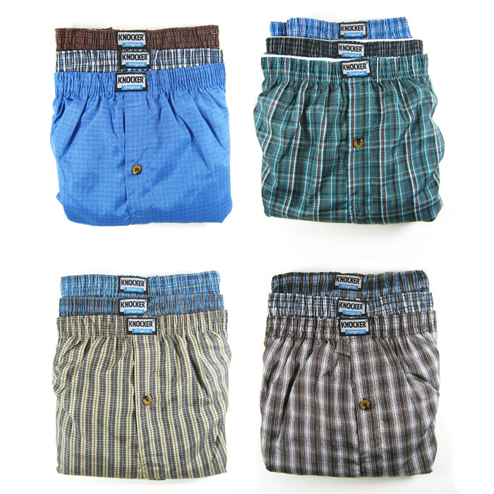 12 Lot Mens Knocker Boxers Trunk Plaid Shorts Underwear Cotton Briefs 3XL 50-52