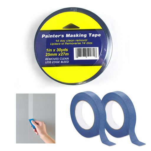 2 Rolls Painters Masking Tape Blue 1 Inch X 30 Yds Less Edge Bleed Multi-Surface