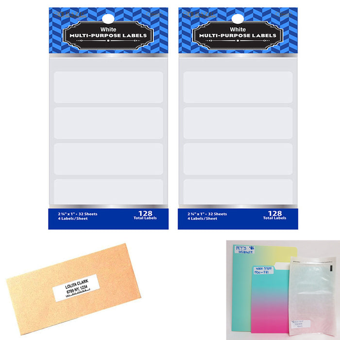 "256 Blank Stickers White Labels 2 3/4"" X 1"" Self Adhesive Crafts Personalize Tag"