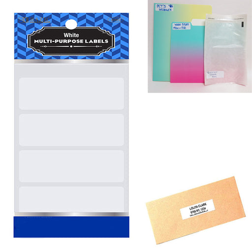 "1280 Blank Stickers White Labels 2 3/4"" X 1"" Self Adhesive Craft Tag Personalize"