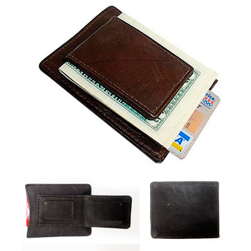 1 Mens Leather Money Clip Slim Front Pocket Magnetic ID Credit Card Wallet Brown