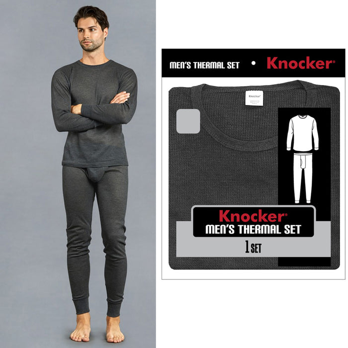 Knocker Mens Thermal Underwear Set Long Sleeve Top Pajamas Pants Sleep Grey 3XL
